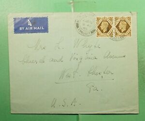 DR WHO 1945 BRITISH MOROCCO TANGIER PAIR AIRMAIL TO USA  g14327