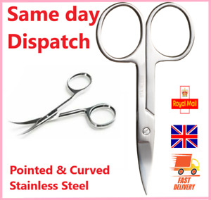 Stainless Steel Finger Toe Nail Scissors Curved Arrow Manicure Cuticle Nails UK