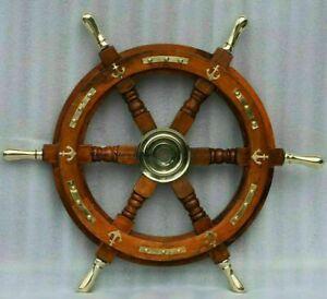 "Nautical Wooden Ship Steering Wheel 18"" Pirate Decor Item Brass Handle + Anchor"