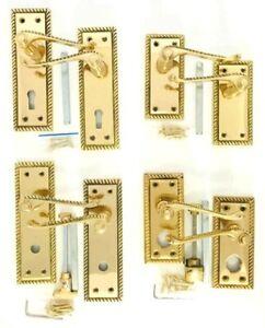 SOLID Polished Brass Georgian Door Handles Lever Lock, Latch, Bathroom, Privacy