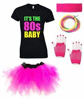 IT'S THE 80s BABY Ladies Vest Outfit Fancy Dress Costume Neon Tutu 80's Gloves