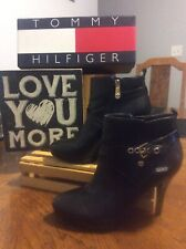 Tommy Hilfiger (RAINFALL) Black Leather Zip Buckled Platform Boots 6.5M PreOwned
