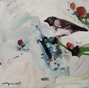 JOSE TRUJILLO Oil Painting IMPRESSIONISM BIRD FLORAL CONTEMPORARY ARTWORK NR