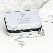 Personalised Rosary Beads Necklace & Gift Box - Christening Baptism Gift Present