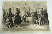 1882 magazine engraving ~ GYPSY GIRL DANCING THE ZORONGO IN SPAIN