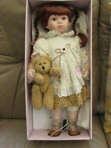 Porcelain Doll - The Leonardo Collection - Hannah with teddy bear - boxed