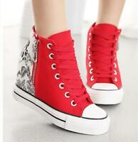 Fashion Canvas Women's Lace Up Hidden Wedge High Top Sneakers Casual Sport Shoes