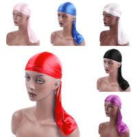 Durag Headwear Headband Pirate Cap Unisex Hat Smooth Silk Nylon Cap Solid Color