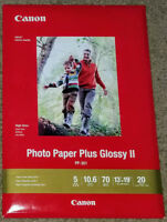 """Canon Inkjet Photo Paper Plus Glossy II PP-301 13"""" x 19"""" 20 Sheets  New"""