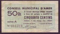 Banknotes Local - Municipal Council D'Amer - 50 Cts. Year 1937. Series A. MBC