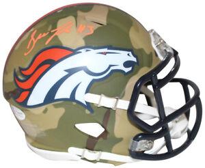 Drew Lock Autographed/Signed Denver Broncos Camo Mini Helmet BAS 29356