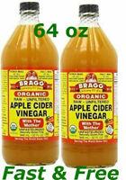 Apple Cider Vinegar Bragg Organic Usda Mother Raw Unfiltered 32 oz X 2 Pack Free