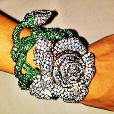 JARIN Large Rose with Green Stem CZ Bangle Bracelet