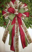 """10 """" HANDMADE CHRISTMAS BOW WIRED RIBBON for WREATH LANTERN GARLAND # 25 rb"""