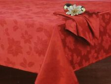 Nobility Red Poinsettia 60X87 Oblong Tablecloth NWT