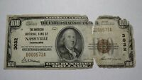 $100 1929 Nashville Tennessee TN National Currency Bank Note Bill! Ch #3032 RARE