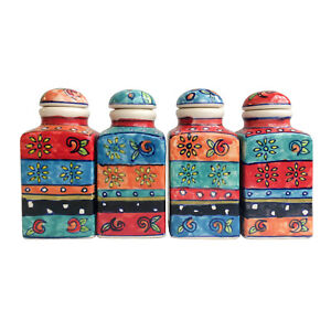 Hand Painted Ceramic Spice Jars Set of 4 Floral Pattern Fair Trade