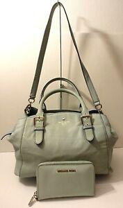 Kate Spade Lot of 2 Aqua Leather Satchel Shoulder Bag Purse& Michael Kors Wallet