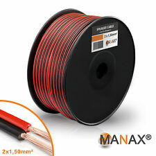 100m Zwillingslitze 2x 1,5mm² Lautsprecherkabel Boxenkabel rot/schwarz 2-adrig