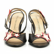 Marc Jacobs 693853 Black Slingback Star Leather Sandal 9 39 NIB $550