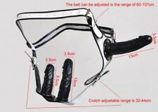 Gode ceinture triple blanc et noir avec gode interchangeable avec pression