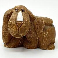 Vtg 1980s Artesania Rinconada Brown Floppy Dog Figurine Uruguay Retired Signed