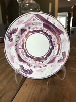 Antique Handpainted Gray Pottery Hanley England Pink Gold Lustreware Plate 8""