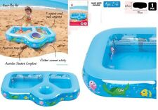 Kids 3 compartment Toddler Inflatable Beach Play Padling Pool Sand Pit Water Toy