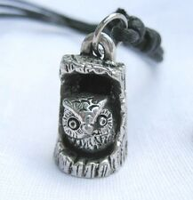 Pewter Pendant Necklace Owl Charm Fashion Adjustable Black String Women Unisex