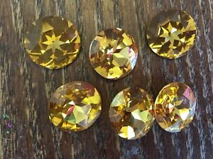Swar Crystal Yellow Honey Canary Bold Faceted Ravoli Loose Stone Lot