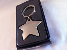 Lovely quality chrome plated Star keyring. Free engraving