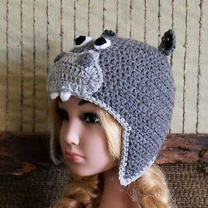 Hippo Beanie Photo Prop Hat, Crochet Newborn Beanie