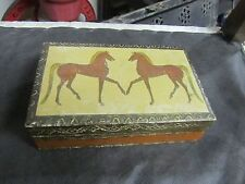 HAND MADE PAINTED FLORENTIA NUMBERED WOODEN WOOD BOX ITALY HORSES GILT GOLD