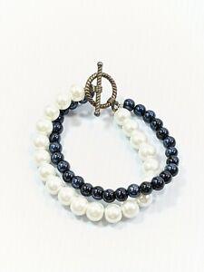 Artisan Silver Tone Black White Glass Faux Pearl Two Strand Bracelet 7 Inches