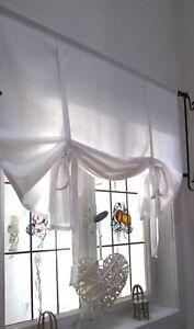 Gardine Raffrollo Baumwolle v.Breite ab 60 -150 cm Landhaus Shabby Chic Vintage