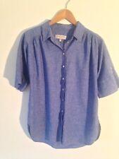 Gharani Strok 55% Lino 45% Algodón Azul Camisa Manga Corta Uk 8 en muy buena condición