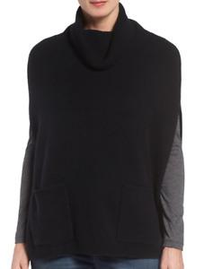 Nordstrom Halogen 100% Cashmere Turtleneck Poncho Black One Size NEW $199.00