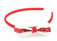 100 Sequinned St George Cross Bow Satin Alice Bands Red & White