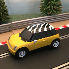 Scalextric 1:32 Digital Car - C2820D Yellow Mini Cooper With Zebra Print Roof #G