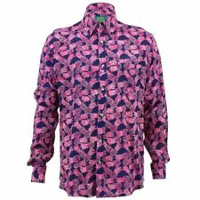 Mens Loud Shirt Retro Psychedelic Funky Party TAILORED FIT Pineapples Purple