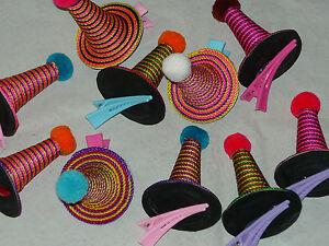 Haarspangen Haarklammern Hütchen bunt - echte Handarbeit aus Thailand
