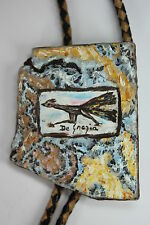 Signed Listed Ted De Grazia Hand Painted Road Runner Bolo Tie Painting Arizona