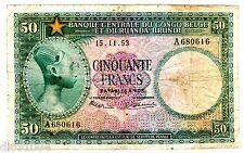 CONGO BELGE BELGIAN & Du RUANDA-URUNDI Billet 50 FRANCS 15/11/ 1953 P27 RARE