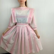 New listing Vintage1980's Pink & White Stripe Belted Dress Large