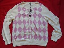 Talbots women sweater long sleeve size XL button up white/pink. nwt