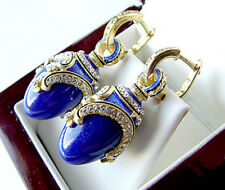 GORGEOUS MADE OF STERLING SILVER 925  EARRINGS w/ GENUINE LAPIS and ENAMEL