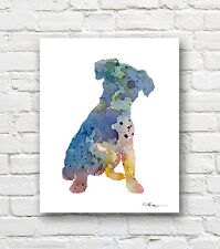 JACK RUSSELL TERRIER Contemporary Watercolor Abstract ART Print by Artist DJR