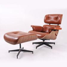 Eame-s Style Chair & Ottoman 100% Top Grain Italian Leather Walnut Wood genuine