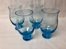 Eva Zeisel Bryce Glass Silhouette Cerulean Footed Goblets Mid Century Mod