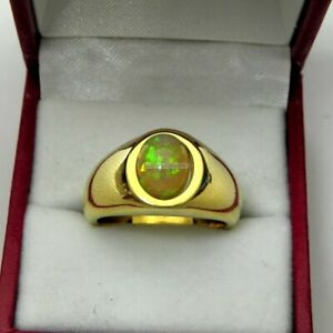 Natural Fire Opal Gemstone with Gold Plated 925 Sterling Silver Ring for Men
